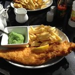 large cod and chips with side of mushy peas