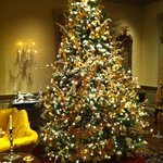 One of the amazing Christmas trees on the Yuletide Tour at Winterthur