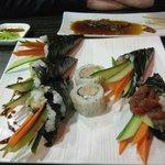 Temaki and maki sushi