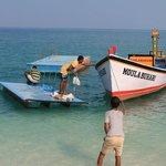 The boat that took us to Bangaram island