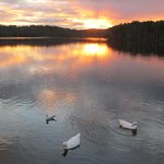 Sunset over Narrabeen Lake outside Limani Restaurant