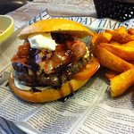iberico burger with goat cheese