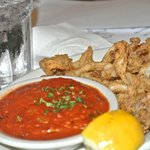 Calamari is crisp and tender with fresh sauce