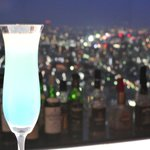 the special drink of the hotel with the view at the background