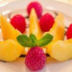 Fresh Peaches and Raspberries