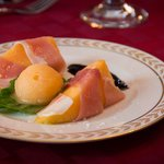Melon and Prosciutto with Mission Fig Balsamic Reduction and House-made Melon Sorbet