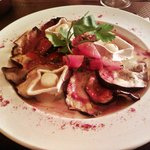 delicious starter: aubergine and goats cheese in a tomato sauce