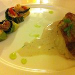 Dos de Cabillaud sauce au vin Jaune, Maki de riz et légumes