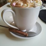 Hot Chocolate with whipped cream, marshmallows and a Flake - It was delicious!