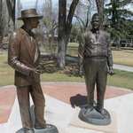 Oppie and Groves statues up the street from the museum