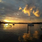 Sunset. Noosa River across Islander Resort
