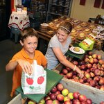Pay-your-own apples in the Fly Creek Cider Mill's Apple Room