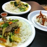 Beef red curry, steamed dumplings