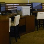 Business center has PC's and printer