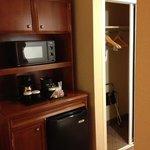 closet, microwave, mini fridge