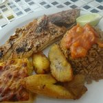 Grilled Snapper with Rice, Fried Plantains and Mac & Cheese