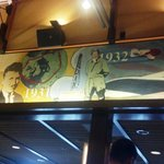 Aviation history mural surrounds main dining room