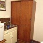 fridge, wardrobe, budget room