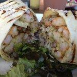 Shrimp coconut sauce burrito