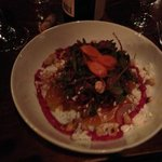Beet salad, goat cheese and hazelnuts