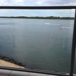 View from the balcony just after the dolphins swam past!