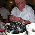 Jim enjoying mussels