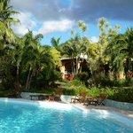 vue de la piscine sur accueil hôtel