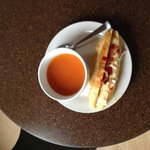 From scratch soup and wheat-free panini sandwich from bread made in the onsite bakery