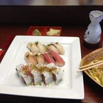 Chef's Choice with Saki and dinner salad.