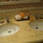 Ocean view junior suite--welcome flowers in bathroom