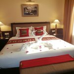 beautiful bed with decoration upon arrival