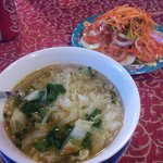 Vegetarian Pho Noodle Soup and Salad