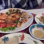 Small grilled seafood dish with garlic noodles