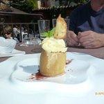 Poached apple with vanilla bean gelato