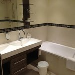 renovated bath room in superior room (bath and shower)