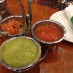 Salsa and guacamole assortment