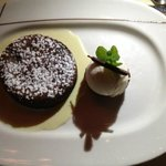 Chocolate torte with anglaise and vanilla ice cream