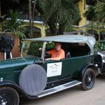 Vintage auto in front of the Victoria Angkor Wat
