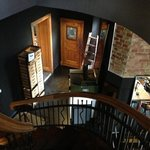 stairs down from bedrooms to the cafe