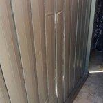 Brokend door to the balcony