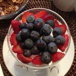Blueberries, strawberries on yogurt.....