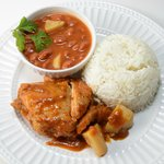 Stewed Chicken with White Rice & Beans