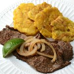 Steak with Onions & Fried Crispy Plantain