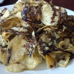 Kettle chips with Gorgonzola and basalmic glaze-- not the prettiest dish, but it is delicious!