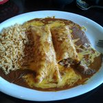 Pork Enchiladas with rice.  Excellent dish.