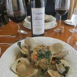 Yummy hake fish stew with a superb Merlot!