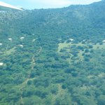 Arial view flying over the camp