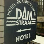Hotel sign seen from room.