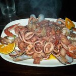 My meal - a plate of very good seafood sautee