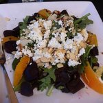 beet, citrus, goat cheese, and almond salad!